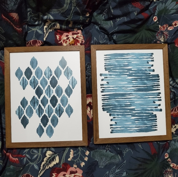 Blue Geometric Watercolour Print Set